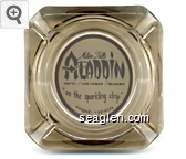 Milton Prell's Aladdin Hotel / Las Vegas / Nevada ''on the sparkling strip'' Phone: 736-0111 - Black on white imprint Glass Ashtray