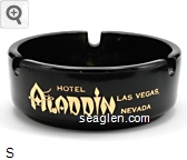 Hotel Aladdin, Las Vegas Nevada - Gold imprint Glass Ashtray