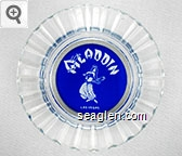 Aladdin, Las Vegas - White on blue imprint Glass Ashtray