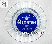 Aladdin Hotel, Las Vegas - White on blue imprint Glass Ashtray