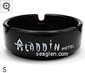 Aladdin Hotel, ''on the sparkling strip'', Las Vegas, Nevada - White imprint Glass Ashtray