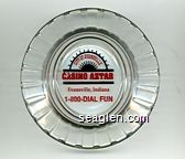 City of Evansville, Casino Aztar, Evansville, Indiana, 1-800-DIAL-FUN - Red and black imprint Glass Ashtray
