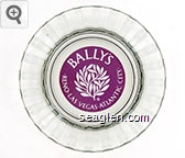 Bally's, Reno Las Vegas Atlantic City - Maroon imprint Glass Ashtray