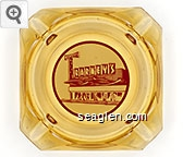 Barney's - Red on white imprint Glass Ashtray