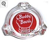 Buddy Baer's, Reno, Nevada - White on red imprint Glass Ashtray