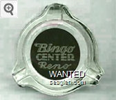 Bingo Center Reno - White on black imprint Glass Ashtray