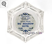 Headquarters, Livestock - Mining, Agriculture, Lovelock, Nevada, Big Meadow Hotel, Club Cafe - Blue on white imprint Glass Ashtray