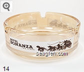 Hotel Bonanza, Las Vegas - Brown on white imprint Glass Ashtray