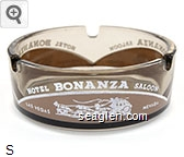 Hotel Bonanza Saloon, Las Vegas Nevada - White and brown imprint Glass Ashtray