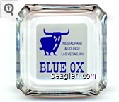 Restaurant & Lounge, Las Vegas, NV, Blue Ox - Blue on white imprint Glass Ashtray