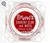 Bruno's Country Club and Motel - Gerlach, Nevada - White on red imprint Glass Ashtray