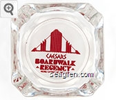 Caesars Boardwalk Regency Hotel - Casino - Atlantic City - Red on white imprint Glass Ashtray