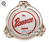 The Bonanza, Reno - Red on white imprint Glass Ashtray