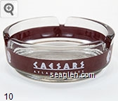Caesars, Atlantic City - White on red imprint Glass Ashtray