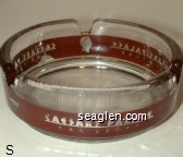 Caesars Palace, Las Vegas - Clear through red imprint Glass Ashtray