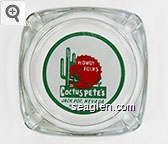 Howdy Folks, Cactus Pete's, Jackpot, Nevada, Highway 93 - Orange and green on white imprint Glass Ashtray