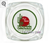 Fun Spot, Cactus Pete's, Jack Pot, Nevada, Highway 93 - Red and green on white imprint Glass Ashtray