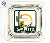 Howdy Folks, Cactus Pete's - Green and yellow imprint Glass Ashtray