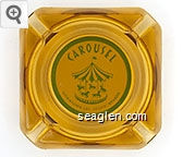 Carousel, Downtown Las Vegas, Nevada - Green on white imprint Glass Ashtray