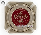 Rocky & Bobby, Carousel, Downtown Las Vegas, Nevada - White on red imprint Glass Ashtray