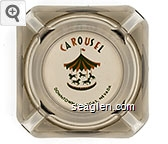 Carousel, Downtown Las Vegas, Nevada - Green and orange imprint Glass Ashtray