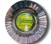 A Hughes Hotel, Castaways Hotel & Casino, Las Vegas - Green on yellow imprint Glass Ashtray