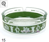 Caesars Tahoe, Lake Tahoe, Nevada - Green and white imprint Glass Ashtray