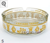 Caesars Tahoe, Lake Tahoe, Nevada - Yellow and white imprint Glass Ashtray