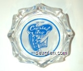 Lake Tahoe, Crystal Bay Club, Dining, Dancing, Gaming, Crystal Bay Nevada - Blue on white imprint Glass Ashtray