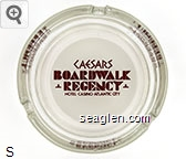 Caesars Boardwalk Regency Hotel - Casino - Atlantic City - Brown on white imprint Glass Ashtray