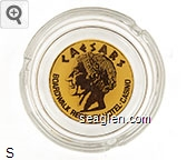 Caesars, Boardwalk Regency - Hotel - Casino - Brown on yellow imprint Glass Ashtray