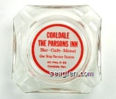 Coaldale, The Parsons Inn, Bar - Cafe - Motel, One Stop Service Station, Jct. Hwy. 6 - 95, Coaldale, Nev. - Red on white imprint Glass Ashtray