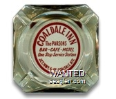 Coaldale Inn, The Parsons, Bar - Cafe - Motel, One Stop Service Station, Jct. Hwy. 6-95 Coaldale, Nev. - Red on white imprint Glass Ashtray