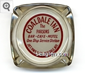 Coaldale Inn, The Parsons, Bar - Cafe - Motel, One Stop Service Station, Jct. Hwy. 6-95 Coaldale, Nev. - Maroon on white imprint Glass Ashtray