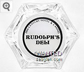 20th Century Hotel & Casino, Rudolph's Deli, Las Vegas - Black imprint Glass Ashtray