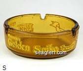 Chuck's Golden Spike Casino, Carson City, Nevada - Yellow imprint Glass Ashtray
