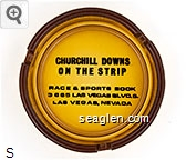Churchill Downs on the Strip, Race & Sports Book, 3665 Las Vegas Blvd. S., Las Vegas, Nevada - Black imprint Glass Ashtray