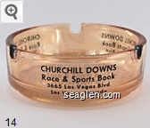 Churchill Downs, Race & Sports Book, 3665 Las Vegas Blvd., Las Vegas, Nevada - Black imprint Glass Ashtray