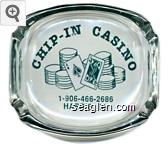 Chip - In Casino, 1-906-466-2686, Harris, MI - Blue imprint Glass Ashtray