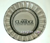 Del Webb's Claridge Casino Hotel - Black imprint Glass Ashtray