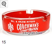 Bill  & Arlene Ritter's Coachman's Inn, Las Vegas, Nevada - White on red imprint Glass Ashtray