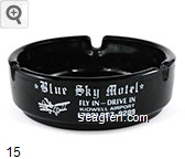 Blue Sky Motel, Fly In - Drive In, Kidwell Airport, (702) 297-9289 - White imprint Glass Ashtray