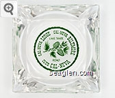 Cal-Neva Lodge, Cal-Neva Biltmore Lake Tahoe, Club Cal-Neva Reno - Green on white imprint Glass Ashtray