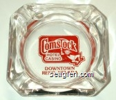 Comstock Hotel, Casino, Downtown Reno, Nevada - Red imprint Glass Ashtray