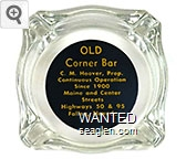 Old Corner Bar, C.M. Hoover, Prop., Continuous Operation Since 1900, Maine and Center Streets, Highways 50 & 95, Fallon, Nevada - Yellow on black imprint Glass Ashtray