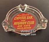 Joe & Sonny's Capitol Bar and Wigwam Club and Cafe, Wells, Nevada - Yellow on red imprint Glass Ashtray