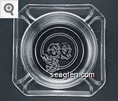CQ (USA molded under lip) - Molded imprint Glass Ashtray