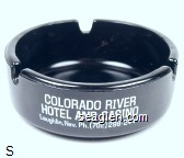 Colorado River Hotel and Casino, Laughlin, Nev. Ph. (702) 298-2444, Poker 21 Keno Slots, The Brightest Spot on the River, Bar - Lounge - Restaurant - White imprint Glass Ashtray