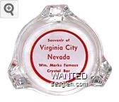Souvenir of Virginia City Nevada, Wm. Marks Famous Crystal Bar - Red on white imprint Glass Ashtray