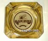 Claim Stake Casino - Brown on white imprint Glass Ashtray